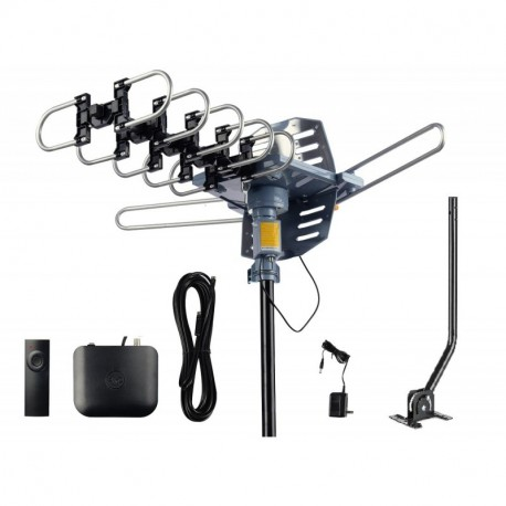 AirDiff Outdoor Antenna [2019 Version] Amplified HDTV Antenna 360 Degree  Rotation with 40FT RG6 Cable & Mounting Pole Snap-On Installation